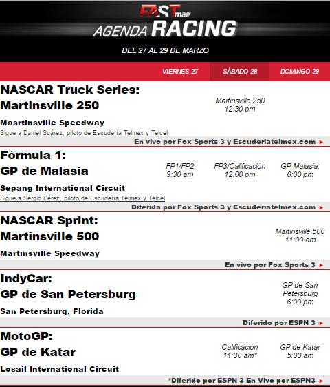 agenda racing 26 mar